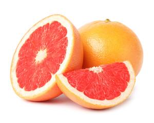Ripe grapefruit on white background. Fresh fruit