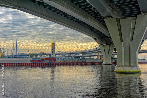 Poster Channel Cable-stayed bridge over Neva river on Western Rapid Diameter highway in St. Petersburg, Russia.