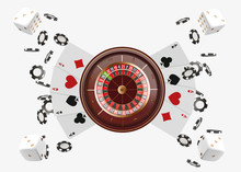 Casino Background Roulette Wheel With Playing Cards, Dice And Chips. Online Casino Poker Table Concept Design. Top View Of White Dice And Chips On Blue Background. Casino Sign. 3d Vector Illustration