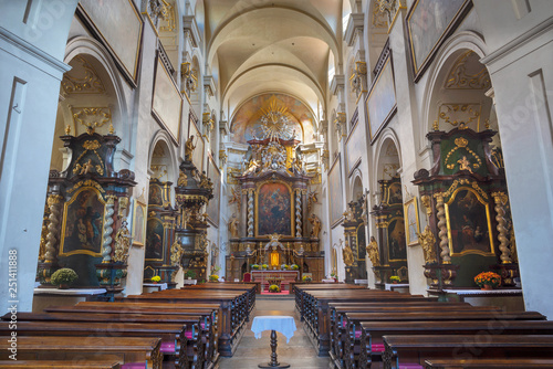 PRAGUE, CZECH REPUBLIC - OCTOBER 16, 2018: The nave of baroque church kostel Svatého Havla.