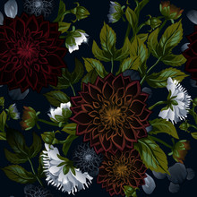 Modern Trendy Seamless Floral Pattern Of Burgundy Dahlias And White Peonies.