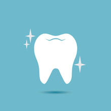 Shiny, Healthy Tooth Vector Icon.