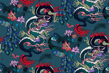 Pattern Of Peacock And Asian Dragon. Vector Illustration. Suitable For Fabric, Wrapping Paper And The Like
