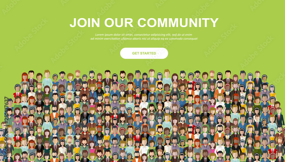Fototapety, obrazy: Join our community. Crowd of united people as a business or creative community standing together. Flat concept vector website template and landing page design for invitation to summit or conference