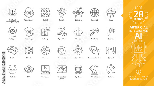 Obraz Vector artificial intelligence editable stroke thin outline icon set with machine learning, smart robotic and cloud computing network digital AI technology: internet, solving, algorithm, choice sign. - fototapety do salonu