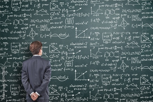 Photo Albert einstein algebra background blackboard board business calculations
