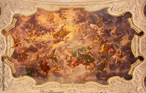 PRAGUE, CZECH REPUBLIC - OCTOBER 18, 2018: The baroque fresco of Creation in church kostel Svaté Voršily by Jan Jakub Stevens ze Steinfelsu (1707).