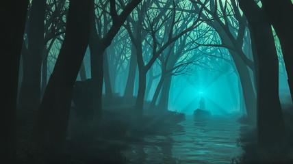 Sorcerer in blue forest
