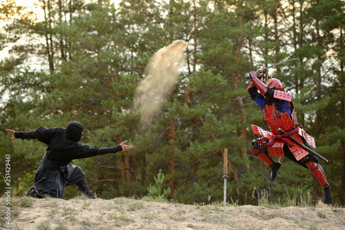 Fotomural Samurai fight with ninjas on a background of forest and sand