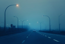 Highway In Mystic Fog Mist Smo...