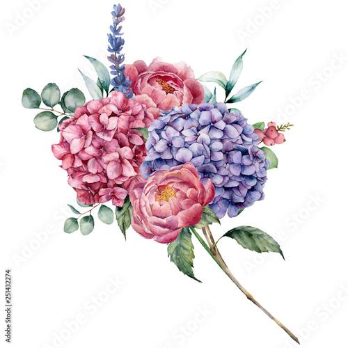 Valokuvatapetti Watercolor hydrangea and peony bouquet