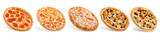 Set of pizzas: pepperone, cheese, chicken and tomatoes, tuna, shrimp - 251433481