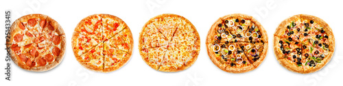 Photo sur Aluminium Pizzeria Set of pizzas: pepperone, cheese, chicken and tomatoes, tuna, shrimp