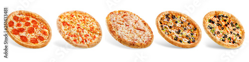 Poster Pizzeria Set of pizzas: pepperone, cheese, chicken and tomatoes, tuna, shrimp