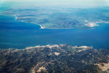 Aerial View Of The Strait Of Gibraltar Connecting Atlantic Ocean With Mediterranean Sea