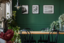 Green Flowers In Glass Vase On Long Wooden Table With Black Chairs In Elegant Living Room