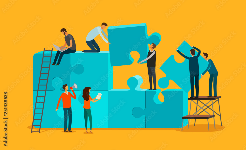 Fototapeta Team work concept. Business, teamwork infographics. Pieces of a puzzle vector illustration