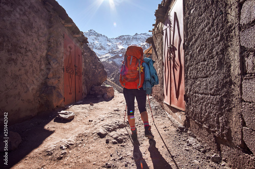 Recess Fitting Bordeaux Tourist girl backpacker on the hike into the Atlas mountains in Morocco Africa