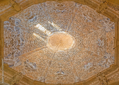PALMA DE MALLORCA, SPAIN - JANUARY 28, 2019: The baroque stucco in side cupola of church Iglesia Nuestra Senora del Socorro by Francisco Herrera from 18. cent.