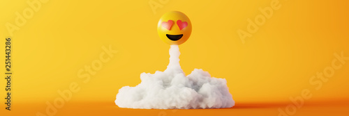 Love emoticon 3d rendering background, social media and communications concept - 251443286