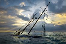 Shipwreck On Beach. Boat Stran...