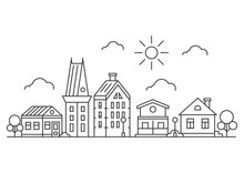 Thin Line Town Landscape Concept. Linear Cityscape With Buildings Sun And Trees. In Flat Outline Style. On White Background. Vector Illustration