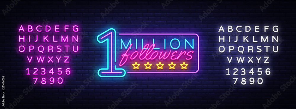 Valokuva Million Followers neon text vector design template