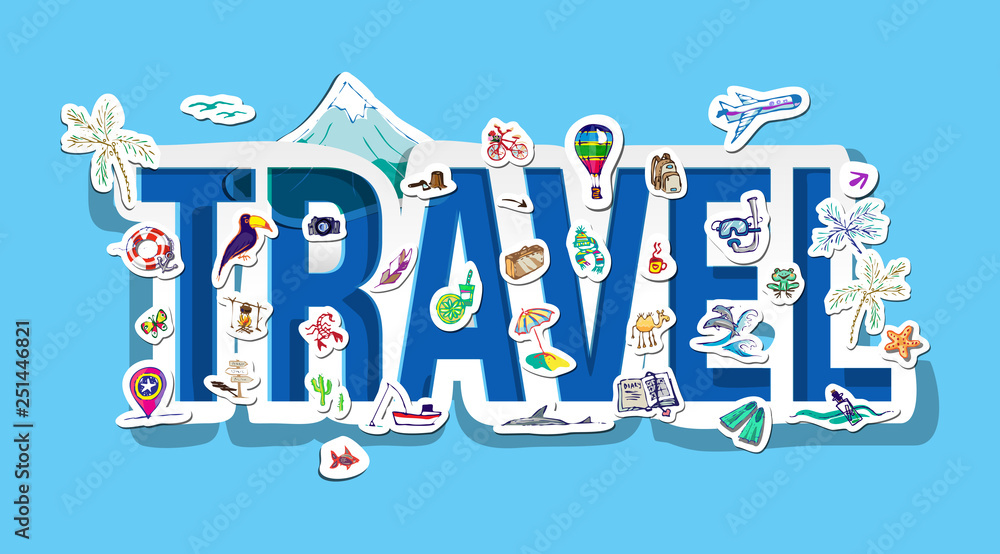 travel doodle stickers