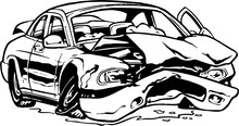 Wrecked Car Vector Illustration