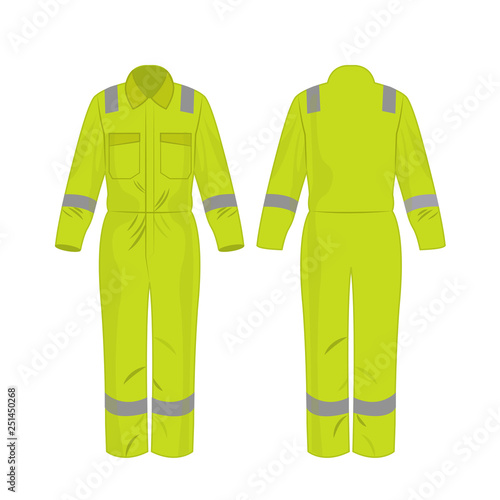 yellow green work overalls with safety band isolated vector on the white background Wall mural