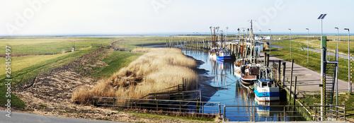 Photo Krabbenkutter im idyllischen Kutterhafen an der Nordseeküste, Panorama