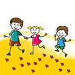 Hand drawn children walk on the lawn in the summer