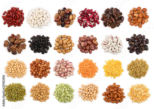 Fotografie, Obraz  mix legumes isolated on white background. Top view. Flat lay