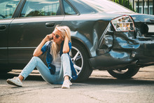 Girl Sits On The Road, Near Th...