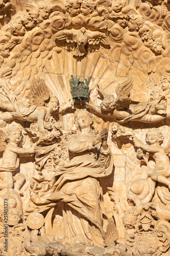 PALMA DE MALLORCA, SPAIN - JANUARY 27, 2019: The statue of Immaculate Conception on the baroque portal of church Iglesia de San Francisco by Pere Horrach and Francisco de Herrera (17. cent.)..