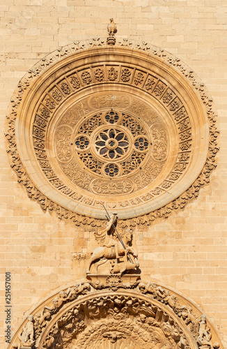 PALMA DE MALLORCA, SPAIN - JANUARY 27, 2019: The detail of baroque portal of church Iglesia de San Francisco by Pere Horrach and Francisco de Herrera (second half of the 17. cent.).