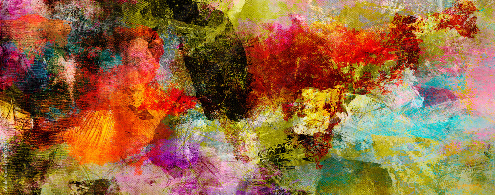 Fototapety, obrazy: texturen malerei farben banner bunt