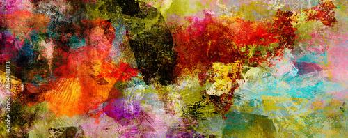 Obraz na plátně  texturen malerei farben banner bunt