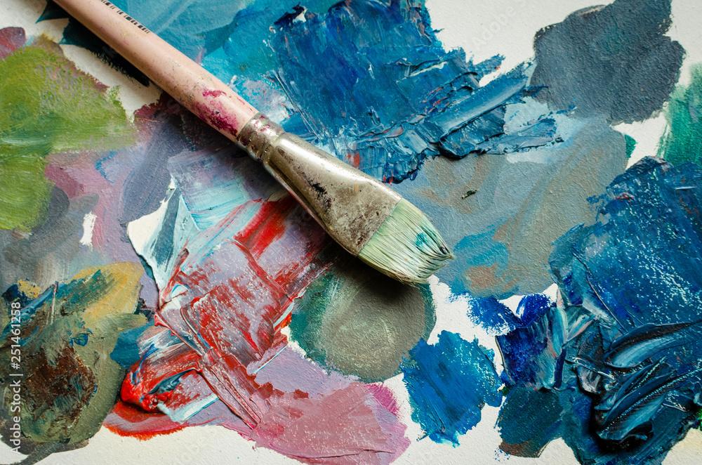 Fototapety, obrazy: Artist paint brush on the wooden palette