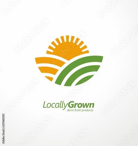 Photo Locally grown farm fresh product simple logo design idea with farm fields and sun shape
