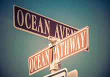 Ocean Avenue And Ocean Pathway Sign In Ocean Grove, NJ