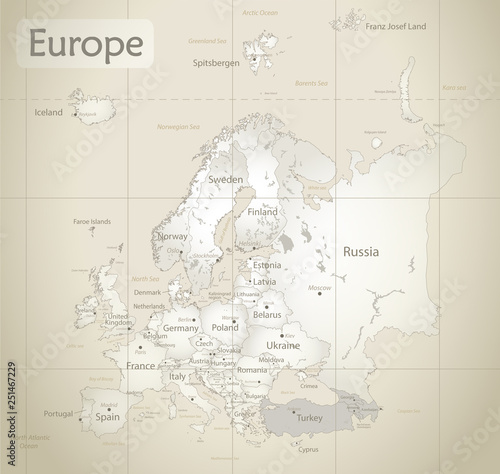 Europe map, new political detailed map, separate individual states, with state c Wallpaper Mural