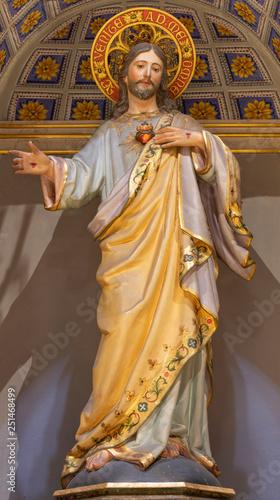 PALMA DE MALLORCA, SPAIN - JANUARY 29, 2019: The polychome carved sculpture of St. Joseph in the church Iglesia de Santa Maria Magdalena from 19. cent.