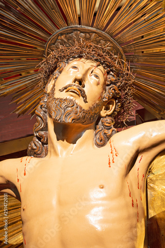 PALMA DE MALLORCA, SPAIN - JANUARY 29, 2019: The detail of statue of Crucifixion in church Iglesia de Sant Gaietà by unknown artist.