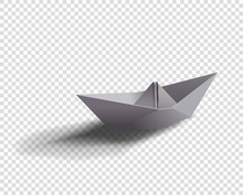 Vector Paper Ship. Origami Boat Illustration With Shadow On Isolated Transparent Background.