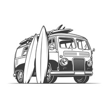 Surf Van And Surfboards
