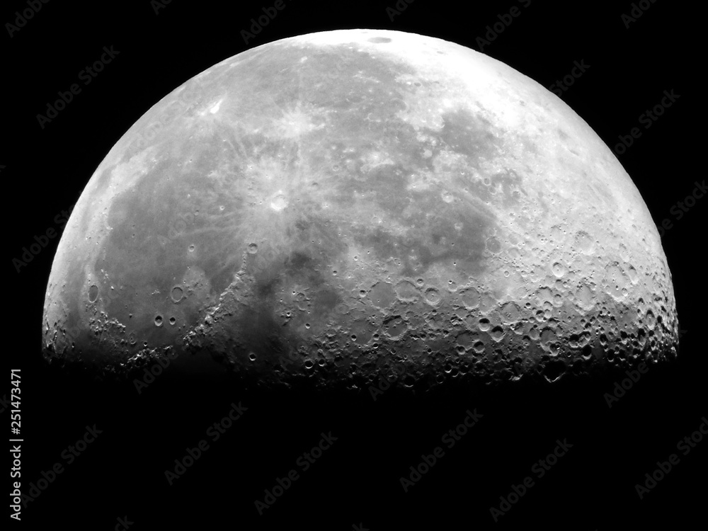 Fototapety, obrazy: Fifty Six percent Waning Gibbous Moon / Waning means that it is getting smaller. Gibbous refers to the shape, which is less than the full circle of a Full Moon
