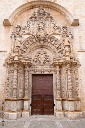 PALMA DE MALLORCA, SPAIN - JANUARY 29, 2019: The baroque portal of church La iglesia de Monti-sion (1624 - 1683).