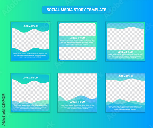 Social Media Post Template In Square Size Fresh Ocean Gradient Color Mix Of Blue And Soft Green Buy This Stock Vector And Explore Similar Vectors At Adobe Stock Adobe Stock