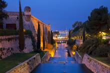 Palma De Mallorca - The Walls Of Almudaina Palace And The Creek At Dusk.
